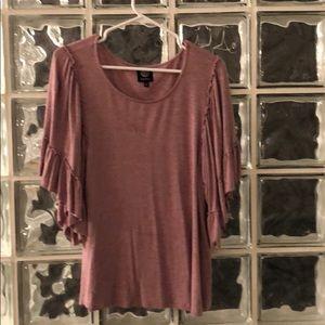 Bobeau blouse top pink grey ruffles bell sleeve